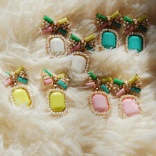 1Pair Bow Fashion Gem Earrings Candy Stud Elegant Color Stud Earring Pearl