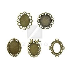 3-10pcs Retro Antique Brass Glue in Cabochon Cameo Setting Pendants Findings