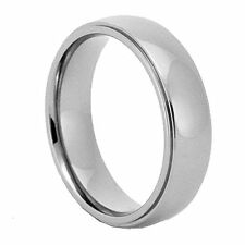6mm Mirror Polish Step Edge Titanium Jewelry Band Engagement Wedding Ring