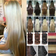 "Top 17-30"" Real Thick Clip In Hair Extensions Wavy Straight Human Favor 1Pcs FM1"