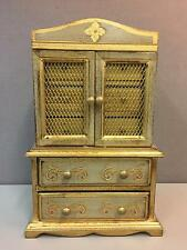 Vintage Large Wood Gilt Jewelry Musical Box Wardrobe Style 5 Drawers