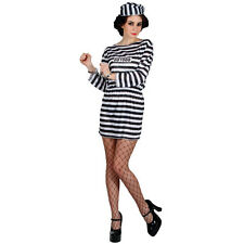 Ladies Jailbird Cutie Budget Costume for Cops Police Robbers Fancy Dress Womens