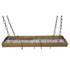 Rogar Hanging Rectangle Pot Rack with Grid, Hammered Bronze/Black - 2340