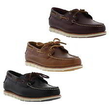 Timberland Tidelands Boat Shoes Mens Leather 2 Eye Deck Shoes Brown Blue Size 7-