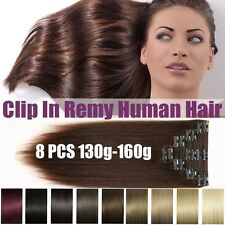 Straight HUMAN HAIR Extensions long 130-160g clip-in very heavy AND THICK XL064