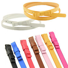 Women's Candy Color 2 Layers Thin Narrow Belt PU Leather Waistband Strap Cheaply