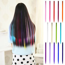 Hot Colorful  Highlight Straight Synthetic Clip in on Hair Piece Extensions 20''