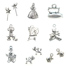 5 or 10 ANTIQUE SILVER TONE FAIRY TALE INSPIRED CHARMS