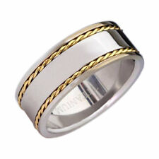 Duo Gold EP Cable Inlay Pip Cut Shiny Top Titanium 8mm Band Men's Wedding Ring