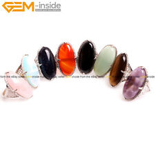 Natural Stone Royal Oval Womens Silver Plated Gift Finger Rings Fashion Jewelry