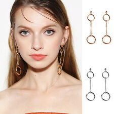 Women Elegant Jewelry Charm Double Round Circle Drop Dangle Stud Earring Cheaply