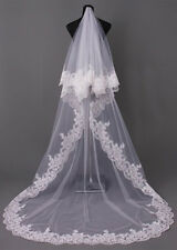 2 Layer Chapel / Cathedral 2.5m/3m Long Bridal Wedding Veil Lace Edge with comb