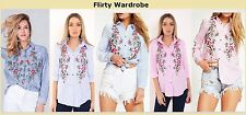 Womens Blue Pink Striped Floral Embroidered Shirt DRESS Button Cute Blouse Top