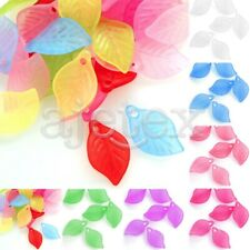 69pcs Acrylic Beads Leaf Jelly-like DIY Jewelry Making Crafts 18x11x3mm 7 Colors