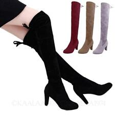Mens Womens Over Knee Thigh Length Dancing Shoes Suede high heel Boots Plus Size