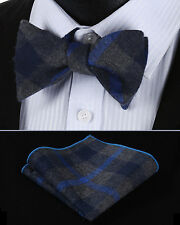 BMC405B Blue Gray Check Men Cotton Self Bow Tie Pocket Square set