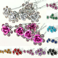 5/10/20/50 X Rose Flower Crystal Wedding Party Bridal Prom Star Hair Pin Clips