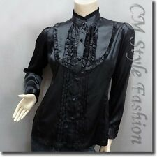 Victorian Style Ruffled Satin Elegant Blouse Shirt Top Black S/L/XL