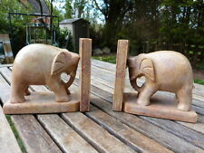 LOVELY PAIR OF VINTAGE MARBLE STONE ELEPHANT BOOKENDS.