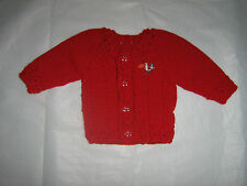 UNISEX. 3/6 MONTH OLD.RED.BABY CARDIGAN.HAND-KNITTED IN USA.DRESSY.EVERYDAY.