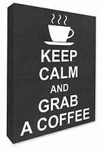 Kitchen Wall Picture Keep Calm & Grab A Coffee Wall Canvas Print Chalkboard Grey