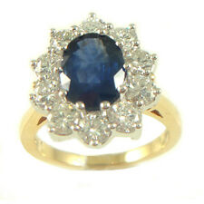 18ct Yellow Gold 1.50 cts Diamond & Sapphire Cluster Ring ND021