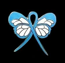 Light Blue Ribbon Awareness Pin Butterfly Pro Choice Lymphedema Cancer Cause New
