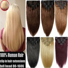 "8pcs 13"" 18"" 20"" 22"" Clip In Remy Real 100% Human Hair Extensions 70-200G Thick"