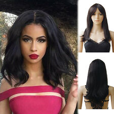 Women Ladies Full Wigs Real Human Hair Soft Short Straight Wave Hair Natural Wig
