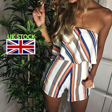 UK Women Striped Bandeau Jumpsuit Playsuit Summer Beach Shorts Ladies Mini Dress