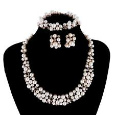 Gold Color White Pearl Rhinestone Necklace Earring Bridal Fashion Jewelry Set