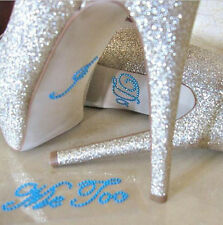 White/Blue Crystal Rhinestone Bride Groom Couple Shoes Stickers Wedding Decals