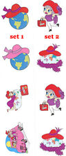 Red Hat & Pink Hat Traveling Stickers / 2 Sheets of either style / Scrapbook