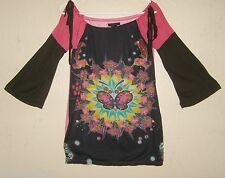 Rare Womens 2 CUSTO BARCELONA Multicolor Abstract Butterfly 3/4 Sleeve Shirt Top
