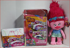 1 / 5 pc- TROLLS Reversible Comforter + Sheet + POPPY Plush Doll - Purple - TWIN
