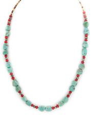 $250Tag Silver Navajo Coral Natural Turquoise Native American Necklace