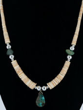 $260Tag Silver Navajo Graduated Natural Turquoise Native American Necklace