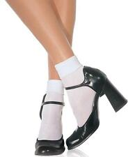Nylon Cuff Anklet Socks Satin Fancy Dress Halloween Costume Accessory 2 COLORS
