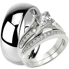 3 PC Solid 925 Sterling Silver CZ Engagement Wedding Ring Set 8 MM Tungsten Band