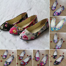 Retro Womens Ballerina Ballet Dolly Pumps Lady Flower Flats Shoes Size US 7.5