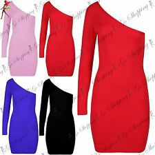 Womens Ladies Off One Shoulder Bodycon Stretchy Nightout Party Dress UK 8-14