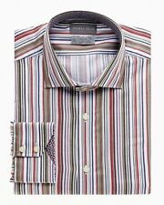 $110 M THOMAS DEAN TD SHARP MENS BOLD MULTI Cream Red Stripe Dress SHIRT NWT