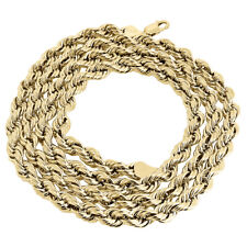 Real 10K Yellow Gold Solid Rope Chain 6mm Shiny Twist Necklace 20-30 Inches