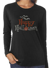 Happy Halloween Bats Pumpkin Rhinestone Women's Long Sleeve Shirts