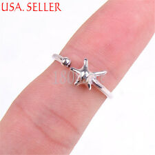 Ladies Genuine 925 Sterling Silver Little 3-D StarFish 2mm Narow Open Ring Z551