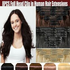 BEST Selling Clip In 100% Remy Human Hair Extensions 8PCS/SET Full Head Brown AU