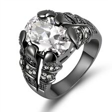 Men New Jewelry White Sapphire Black Gold Filled Wedding Ring Gift Size 8,9,10