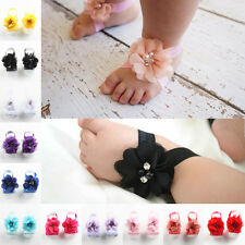 2 Pcs/set Foot Flower Barefoot Sandals Shoes Toe Baby Girl Toddler Headband