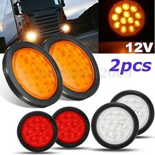 2pcs 4'' 12 LED 12V Round Truck Trailer Stop Turn Tail Light Red Yellow White