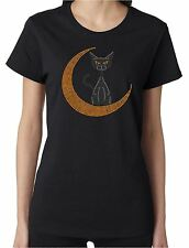 Moon Cat Rhinestone Women's Short Sleeve Shirts Halloween